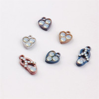 Wholesale Price Fashion Jewelry Charms 50pCs/Lot Rhinestone Crystal Paved Lovely Heart Women Trendy Slipper Bracelet Charm Craft