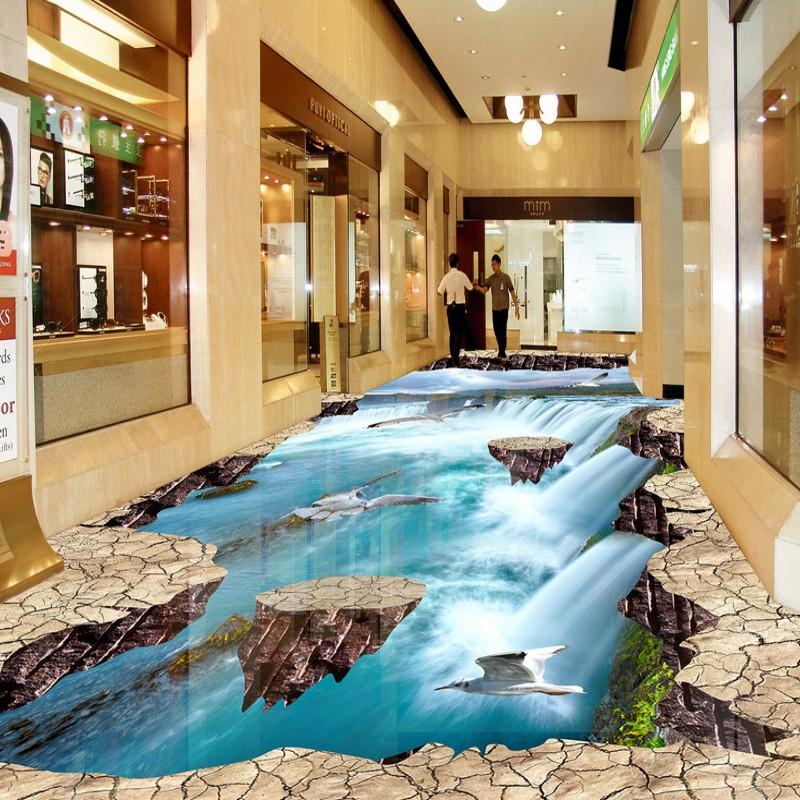Free Shipping Flowing Water Flooring Picture Wallpaper Playground Bedroom  Studio Waterproof PVC Floor Mural In Wallpapers From Home Improvement On ...