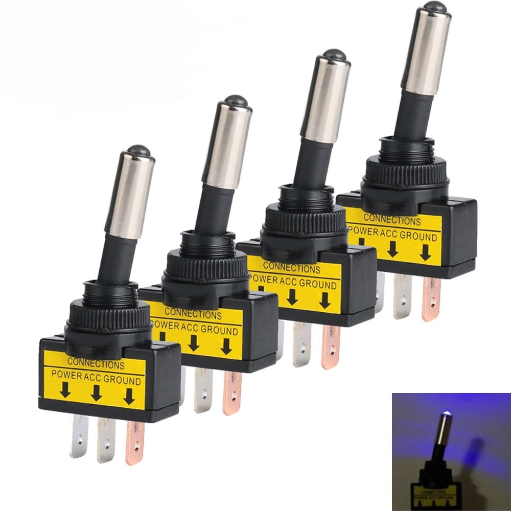 Blue LED Light 5pcs Toggle Switch 3Terminal SPST ON//OFF 5Pcs Waterproof Cover