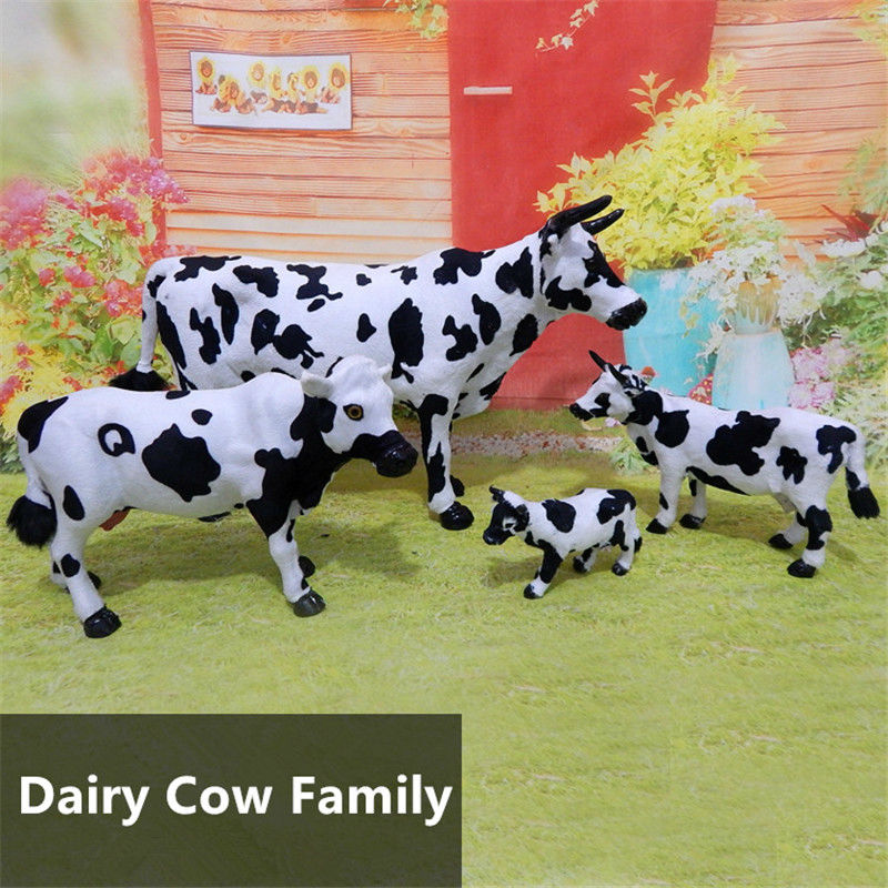 Freeshipping Miniature Handmade Fur Dairy Cow Lifelike Figure toy animal cake home office car decoration party supply gifts