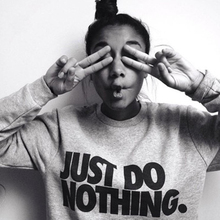 2017 Just Do Nothing Sudaderas Mujer Fashion Women Casual Long Sleeve Hoodie Jumper Pullover Sweatshirt Tops Shirt AQ701518