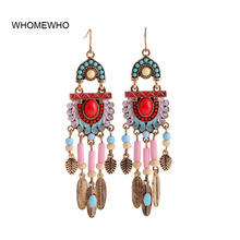 Gold Alloy Metal Bohemia Feather Leaf Handmade Beads Drop Earrings  Vintage Indian Tribal Women Bridal Party Wedding Jewelry