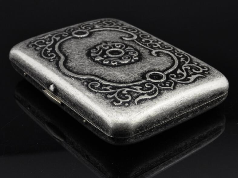 Retro Tabak Keukens : Gegraveerd ruyi bloem 16 stks sigaret doos case antieke zilveren
