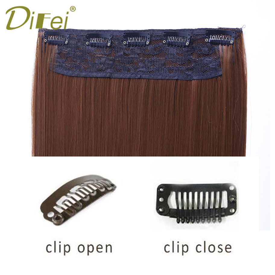DIFEI 24 inch(60cm) Long Straight Women Clip in Hair Extensions Black Brown High Tempreture Synthetic Hairpiece