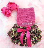 Fotografia bebê recém-nascido meninas Camo Satin Ruffles Bloomers + Hot Pink tubo Top + Bow Headband 3 pcs SET NB-24M