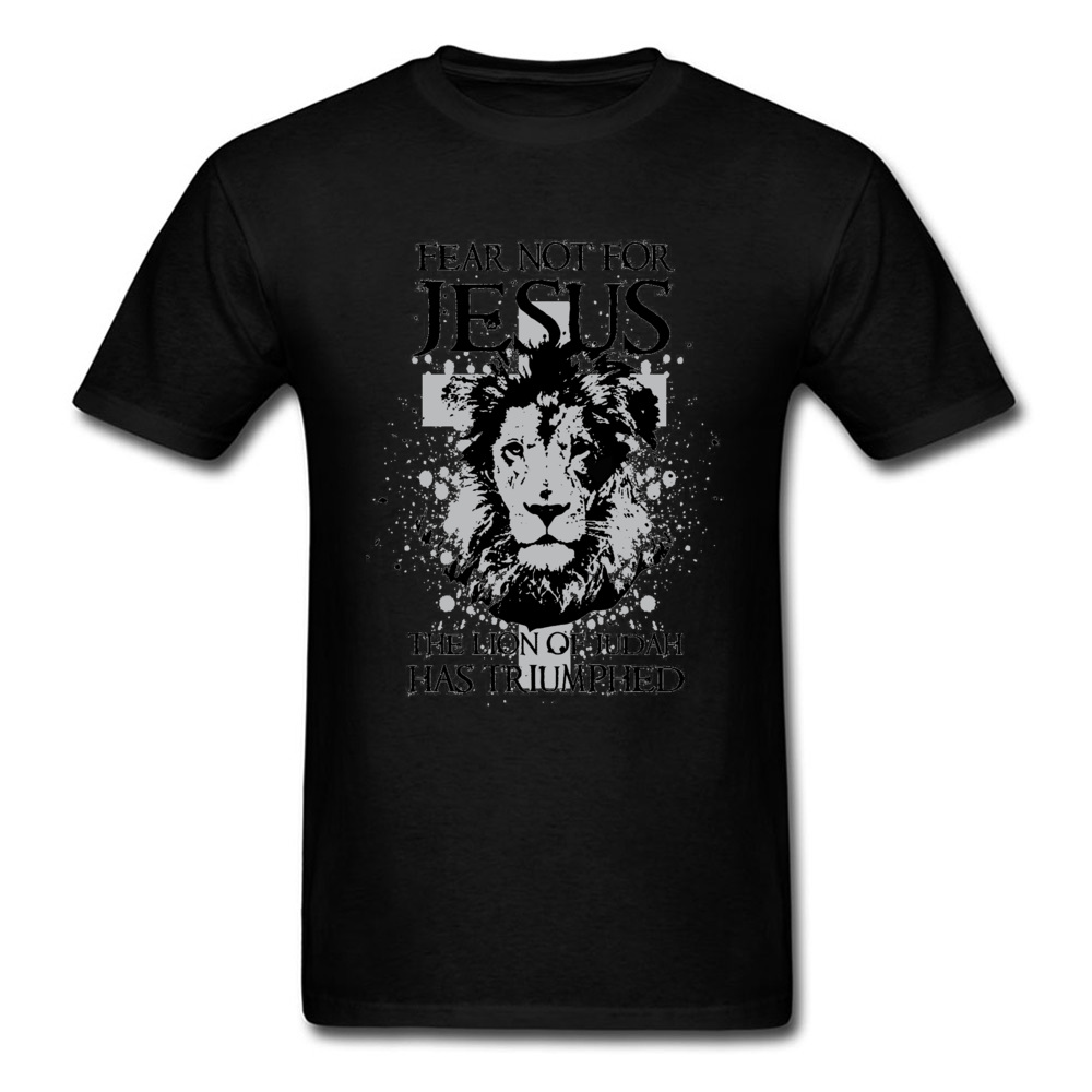 New Design Father T Shirt Fear Not For Jesus The Lion Of Judah Faddish Fashion Print Loose Tshirt Christianism Religion Pray Men