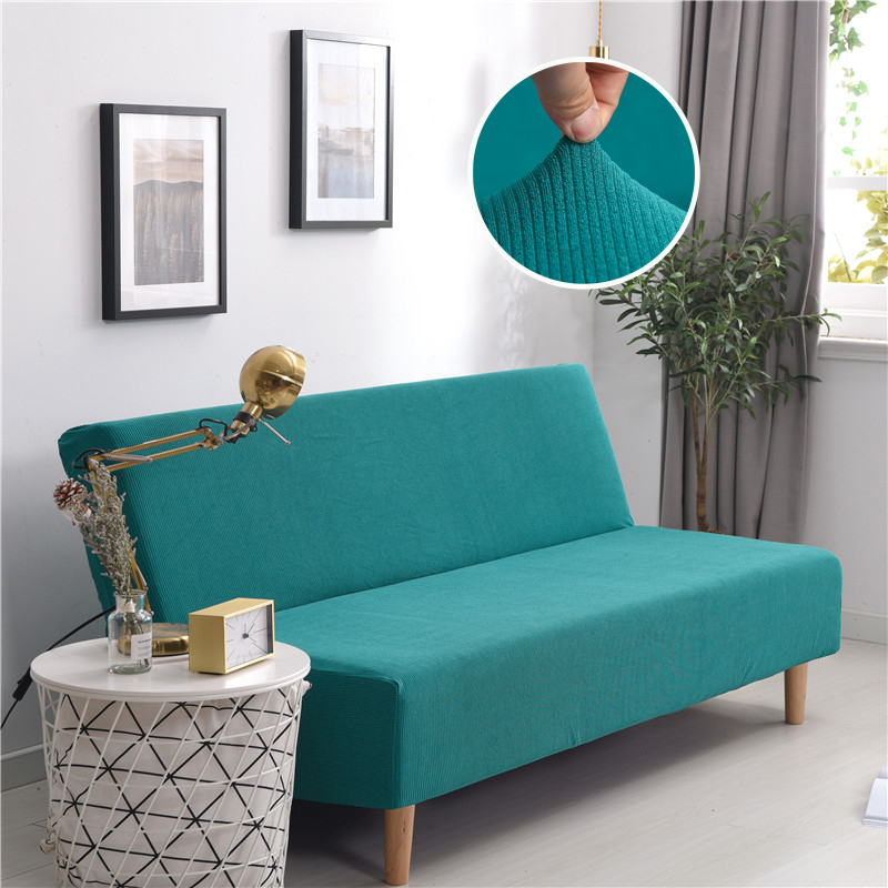 Corduroy Sofa Bed Cover Thick Stripes Stretch Couch Cover Furniture Slipcover Without Armrest Folding Cover For Office Sofa Bed