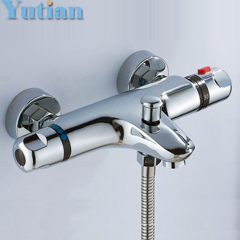 Free Shipping Wall Mounted Two Handle Thermostatic Shower mixer Thermostatic faucet , Shower Taps Chrome Finish,YT-5305-B mojue thermostatic mixer shower chrome design bathroom tub mixer sink faucet wall mounted brassthermostat faucet mj8246