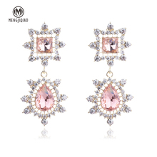 MENGJIQIAO 2018 Korean New Luxury Square Water Drop Crystal Dangle Earrings For Women Crystal Flower Oorbellen Party Accessories