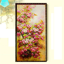 PSHINY 5D DIY Diamond embroidery flowers in full bloom home decor Full Mosaic kit Round rhinestone Diamond Painting cross stich new chinese spring flowers in full bloom painting chandelier coffee carved wood art e27 lamp for corridor