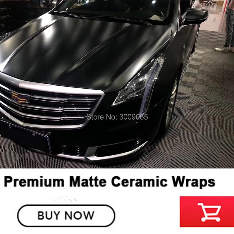 Highest quality matte ceramics black wrap vinyl matte satin black wraps vinyl Air Release low initial