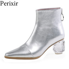 2019 High Quality Autumn Genuine Leather Ankle Boots for Ladies Crystal Heel Square Toe Shoes Woman Zip Party Shoes botas mujer недорого
