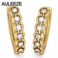 Forever Classic Artistic Real Neaturl Diamond Hoop Earrings For Women Solid 14K 585 Yellow Gold Wedding Engagement Earrings