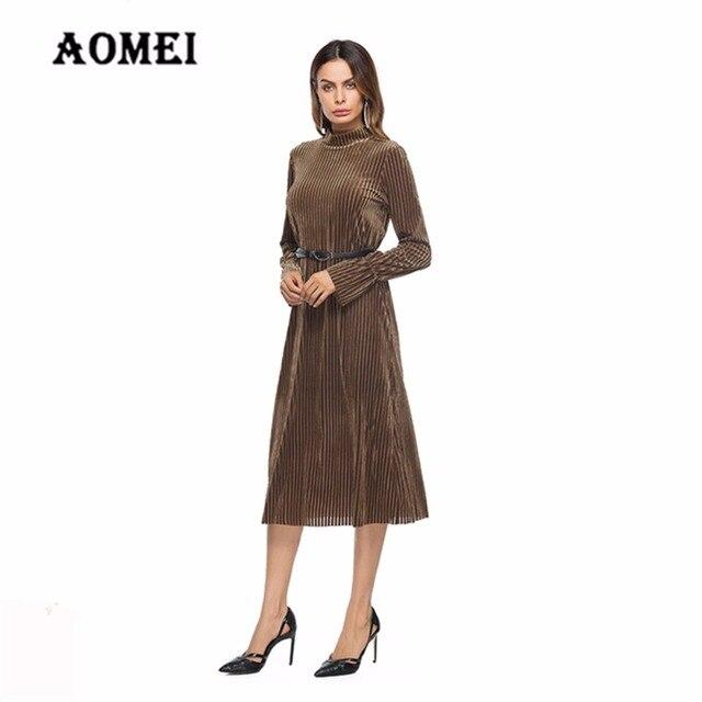 7074b741bc31 Women Winter Velvet Dresses with Sashes Slimming Warm Turtleneck Midi Length  Wear Solid Inverno Elegent Dress Tunics Clothing