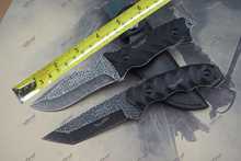 c.Jul.HERBERTZ 9Cr18Mov Steel Fixed Hunting Knife Black  Stone Washing Etching Fixed Blade Tactical Knife two style 1726#