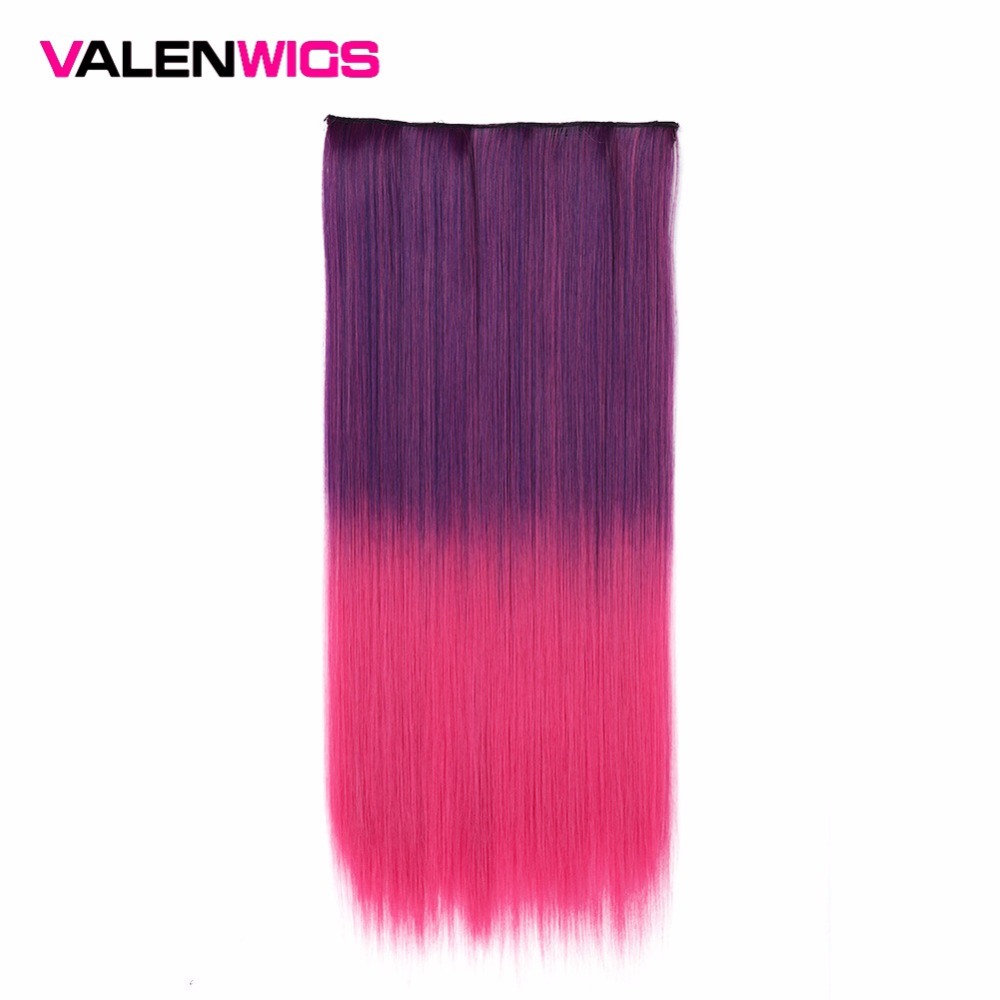 Valen Perücken Synthetische Vollen Kopf Lange Omber Clip in Haarverlängerungen Einem Stück Haarteil Falsche Haar Hitzebeständige 5 clips/stück