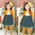 Nova moda outono-manga longa polka dot Menina Vestido de Princesa crianças vestidos