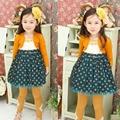 new fashion autumn long-sleeve polka dot Girl Princess Dress children dresses