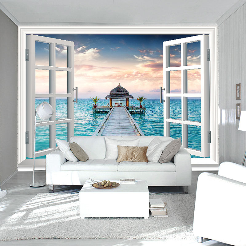 Buy 3d window wall mural ocean photo for 3d room decor