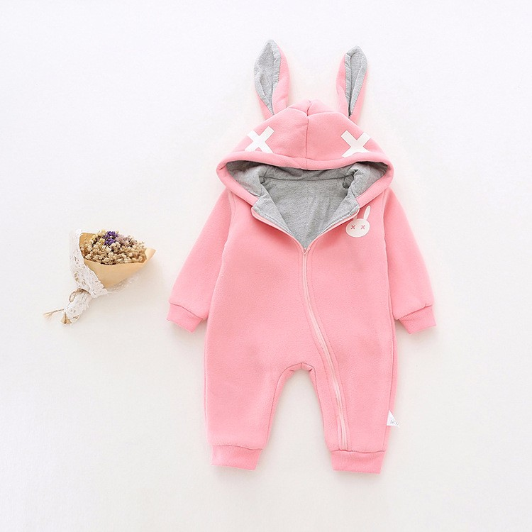 baby girl cross rabbit ear winter rompers (10)