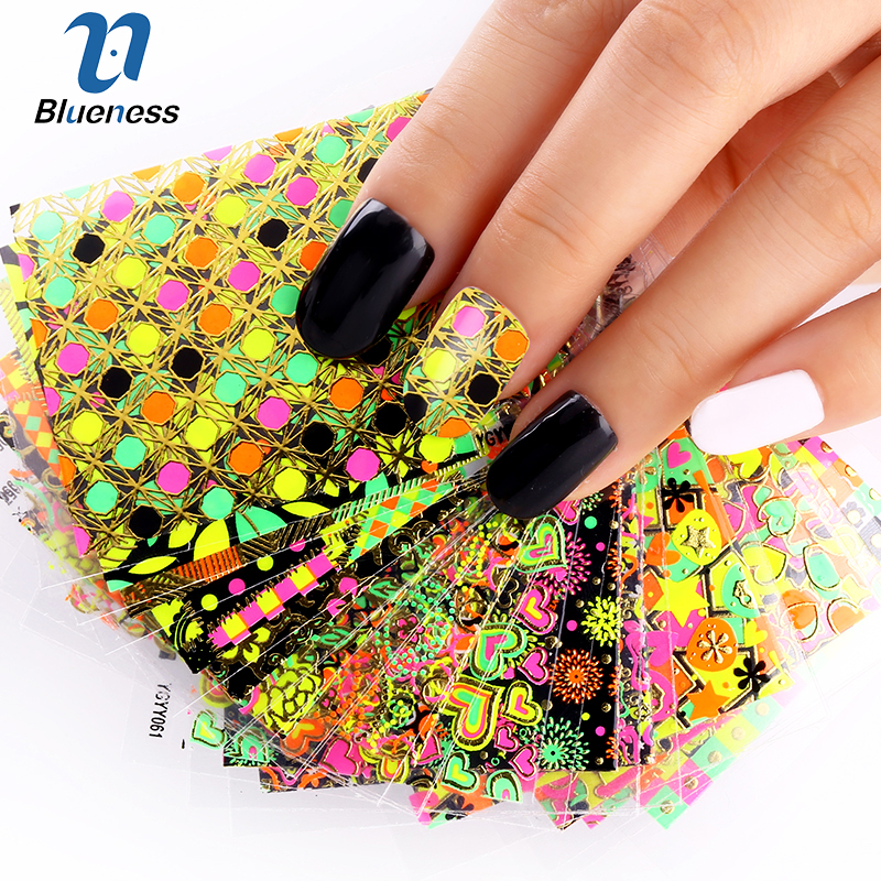 24 Designs Of Nail Stickers Colorful Beauty Glitter 3D Nail Art Tools Bronzing Stamping Diy Decorations For Manicure Nails JH147 art of war
