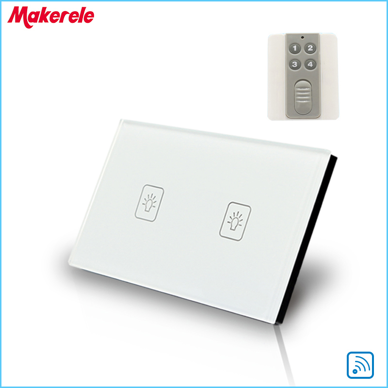 Remote Touch Switch US Standard 2 Gang 1 way RF Remote Control Light Switch White Crystal Glass Panel with Remote control wall light free shipping remote control touch switch us standard remote switch gold crystal glass panel led 50hz 60hz
