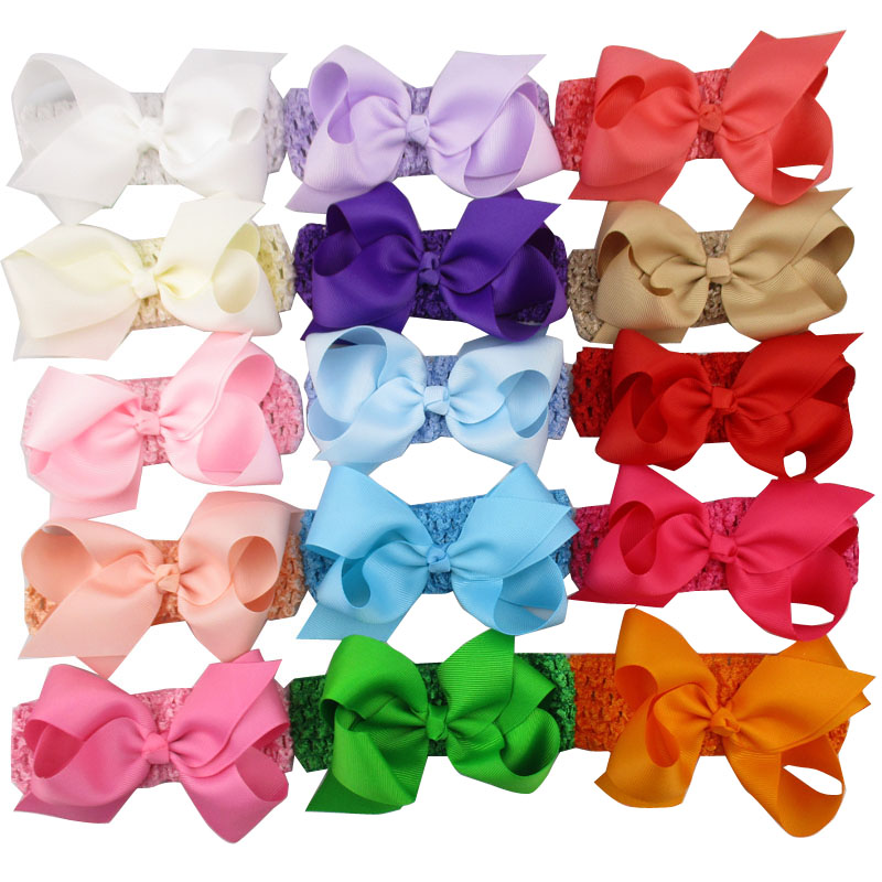 10pcs lot Girl Stretch Headbands Ribbon 5 Boutique Hair Bows Elastic Crochet Hair Bands Head bandage