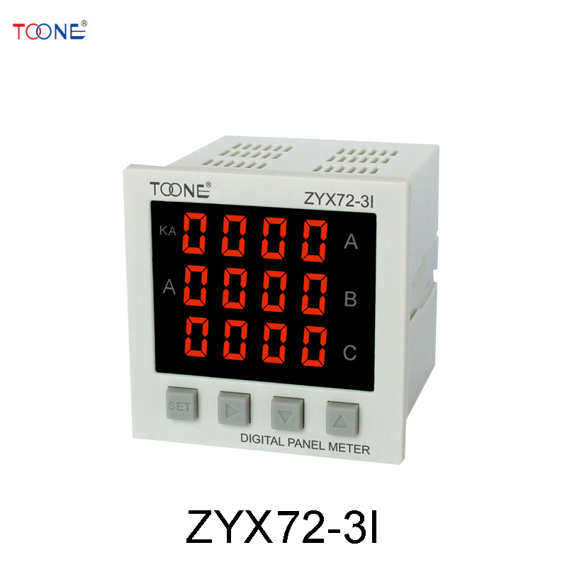 Three - phase AC digital display intelligent ammeter ZYX72-3I / SX72 * 72 power digital instrumentation three phase ac digital display intelligent current and voltage table zyx96 3ui two in one power meter