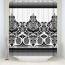 New Arrival Waterproof Traditional Tribal Printed Shower Curtain Polyester Fabric Black White Bathroom Curtains For Home Decor