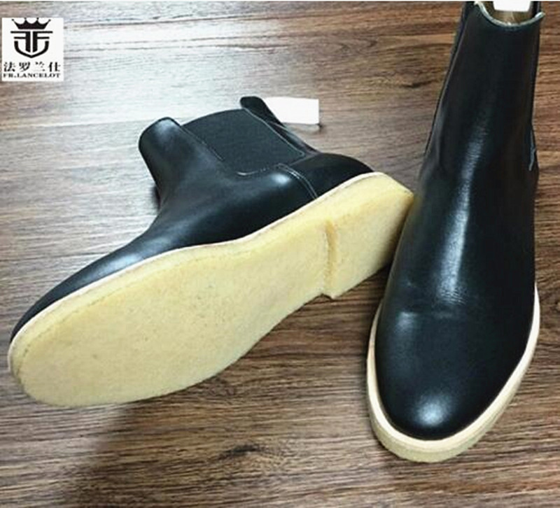 2018 FR.LANCELOT Brand Men Chelsea Boots Genuine Leather Winter Short Boots Ppointed Toe Flats Heel Shoes Ankle Botas