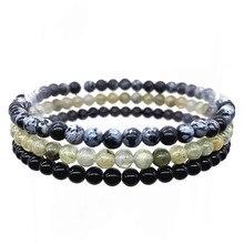 Set Bracelets 3 pcs / set 4 mm Nature Stone Beads Healing Energy Girl Woman Jewelry Gift Jaspers Black Agates #3 недорого