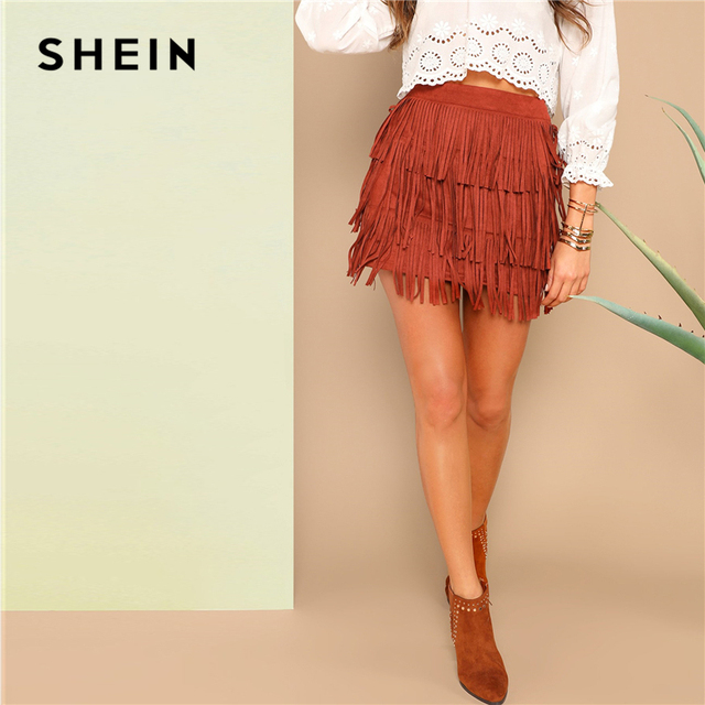 412f61e4a SHEIN Rust Layered Fringe Front Skinny Suede Solid Mini Skirt Women Summer  Elegant Casual High Street