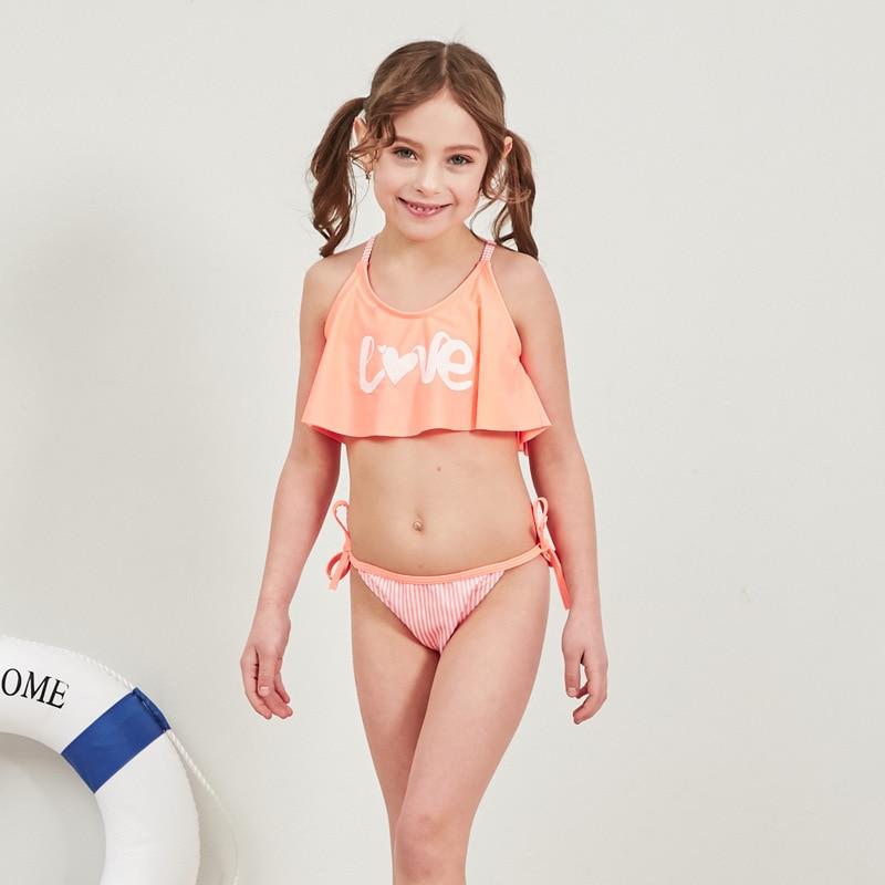 2019 Girl Swimsuit 2 Pieces Suits For Swimming Falbala Children Swimwear Girls Bikinis Set Kids Biquini Infantil Bathing Suit