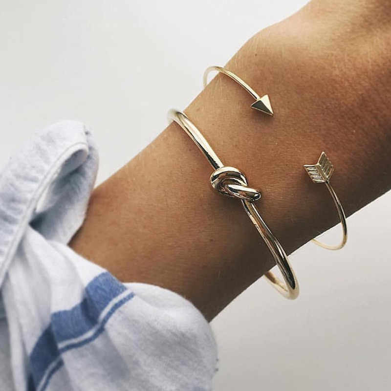 2PCS Vintage Gold Color Knot Bracelet Bangles Simple Twist Cuff Open Bangles For Women Indian Jewelry Costume Jewelery 2019
