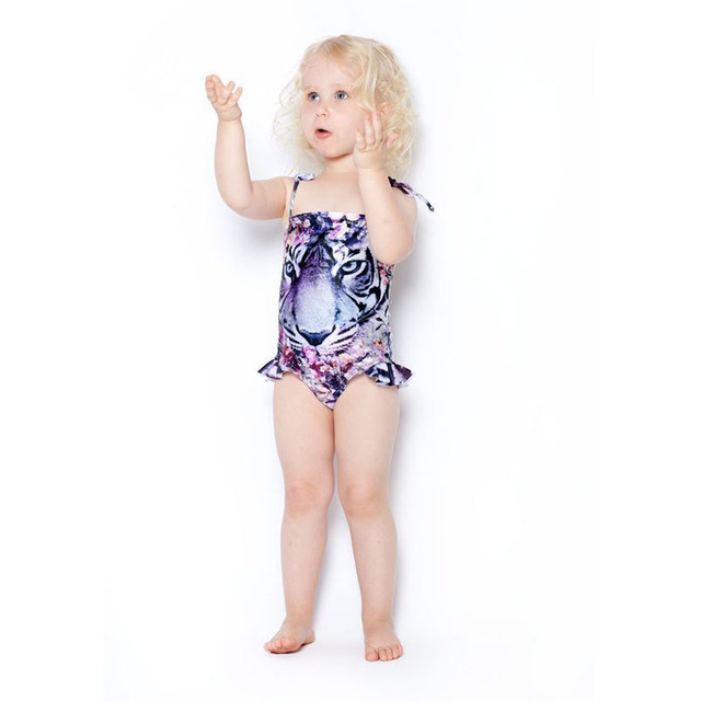 3-10T Girls Swimwear Mermaid Princess One Pieces Swimsuit Kids Siberian Tiger Swimming Suit For Girl Children Bathing Suit