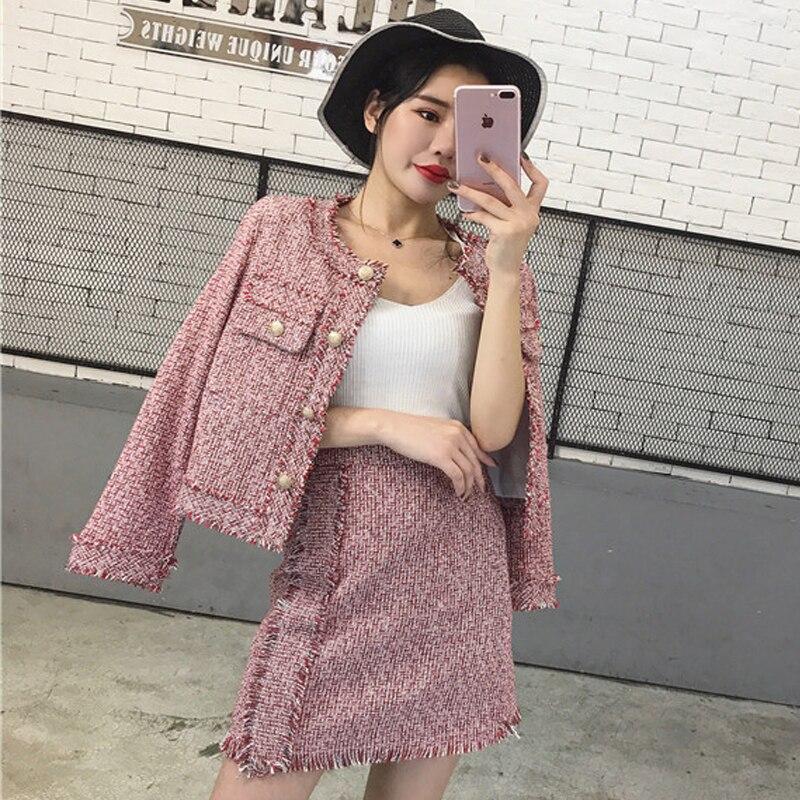 Décontracté 2017 Piste Hiver Femmes Et Élégant Pièces Coréen Mode Veste Costumes Jupes A Laine Ensemble gray 2 Automne pink Blue Minijupe Style Ligne qX0vySwx5x