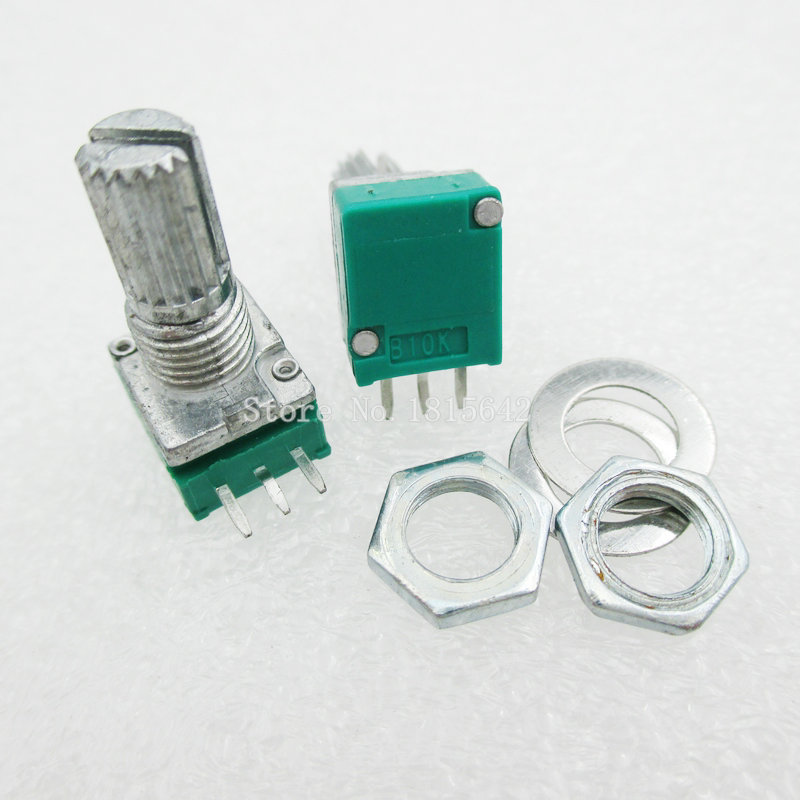 5PCS/LOT B10K Audio Amplifier Sealed Potentiometer 15mm Shaft 3pins RK097N 10K