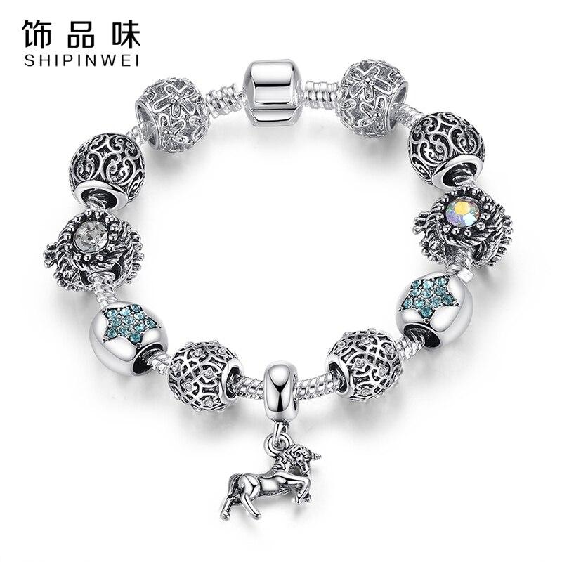Exquis Argent Plaqué Bleu Cristal Coeur Perles Animal Cheval Pendentif  Charmes Bracelet Bracelet pour les Femmes de Bijoux Européens DIY a0201d228933