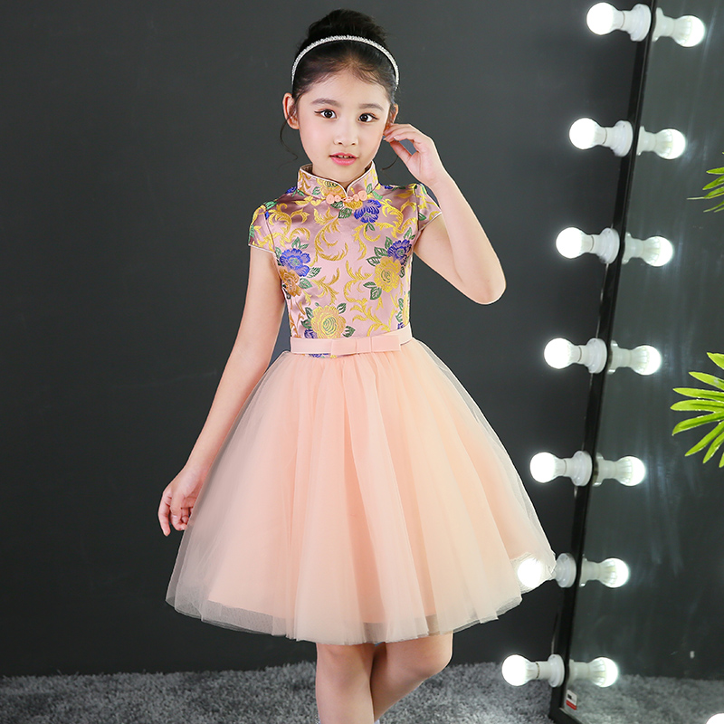 2017 autumn girls formal tutu dresses embroidery floral chinese qipao tulle prom dress for wedding party kids princess dresses a three dimensional embroidery of flowers trees and fruits chinese embroidery handmade art design book
