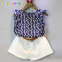 2PCS/2-6Years/Summer Baby Girls Outfits Boutique Kids Clothing Set Blue Flower T-shirt+White Shorts Children Clothes Suit BC1249