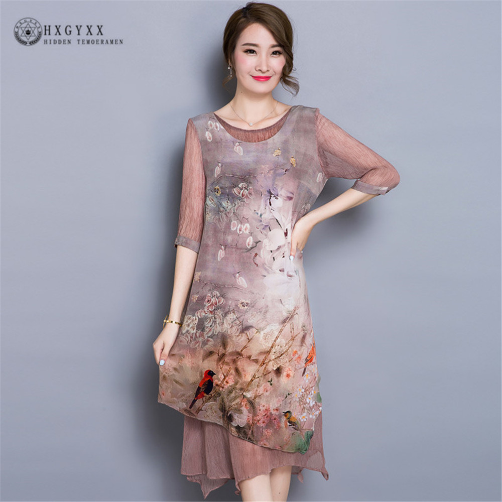 High grade Vintage Women Silk Dress Luxury Mid Long Classic Dress 2018 Summer Irregular Hem Painting