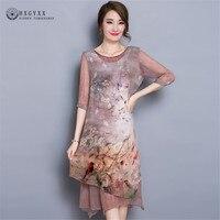 High Grade Vintage Women Silk Dress Luxury Mid Long Classic Dress 2017 Summer Irregular Hem Painting