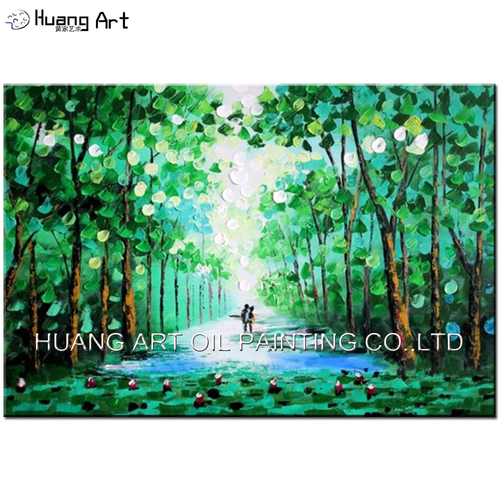 Us 30 0 50 Off 100 Handmade Modern Knife Green Forest Road Oil Painting On Canvas Landscape Pictures For Room Decor Wall Paintings 60x90cm In