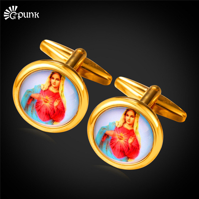 Gold Colour Vintage Virgin Holy Mary Cufflink