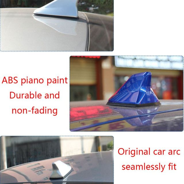 New 1 Pc Universal FM Signal Amplifier Car Radio Aerials Shark Fin Antenna Car Roof Decoration Auto Side Replacement 6 Colors