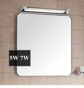 Image 2 - 무료 배송 5W LED 벽 조명 SMD5050 스테인레스 스틸 LED 미러 조명 램프 AC110V/220V 욕실 거울 조명