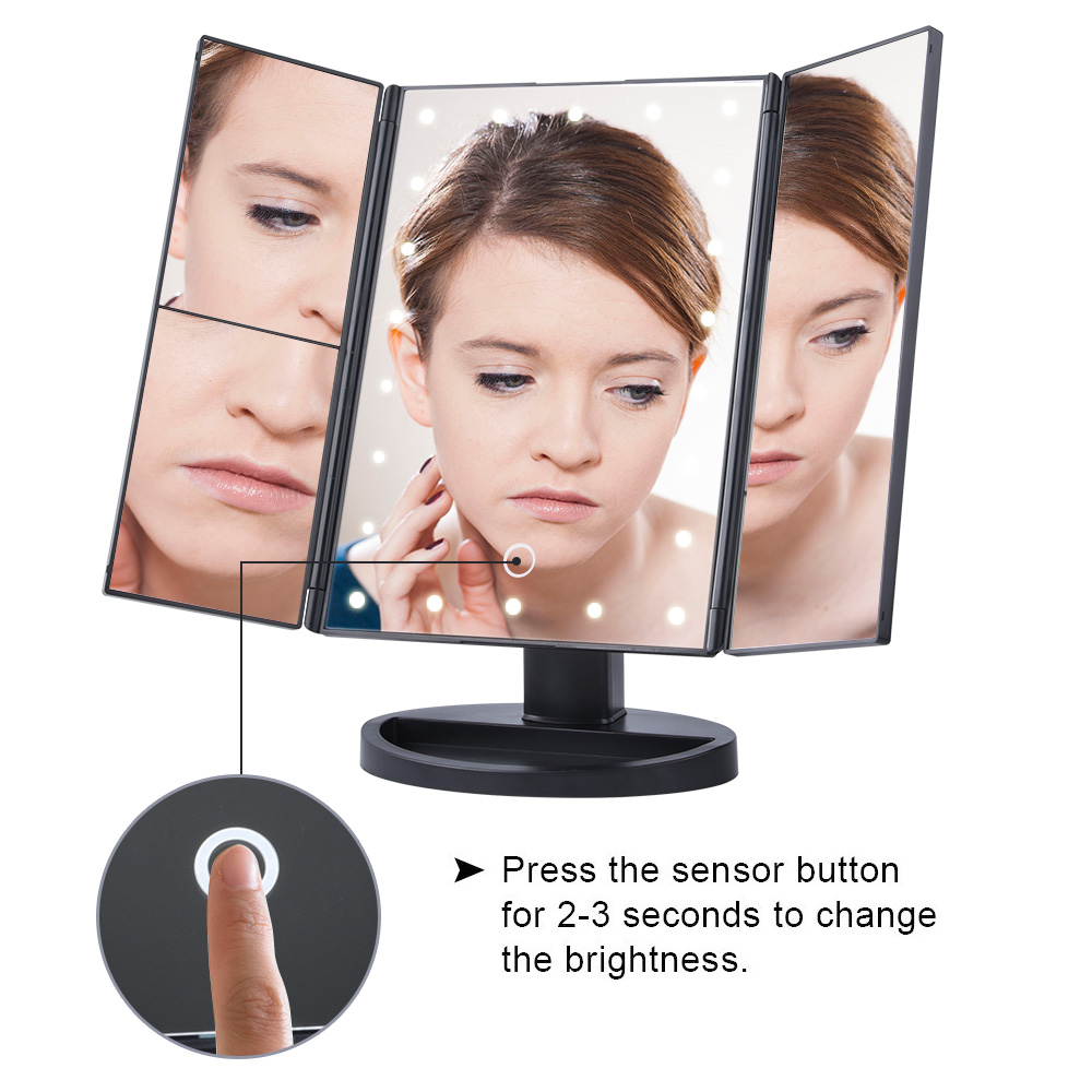 LED Touch Screen 22 Light Makeup Mirror Table Desktop Makeup 1X/2X/3X/10X Magnifying Mirrors Vanity 3 Folding Adjustable Mirror 2