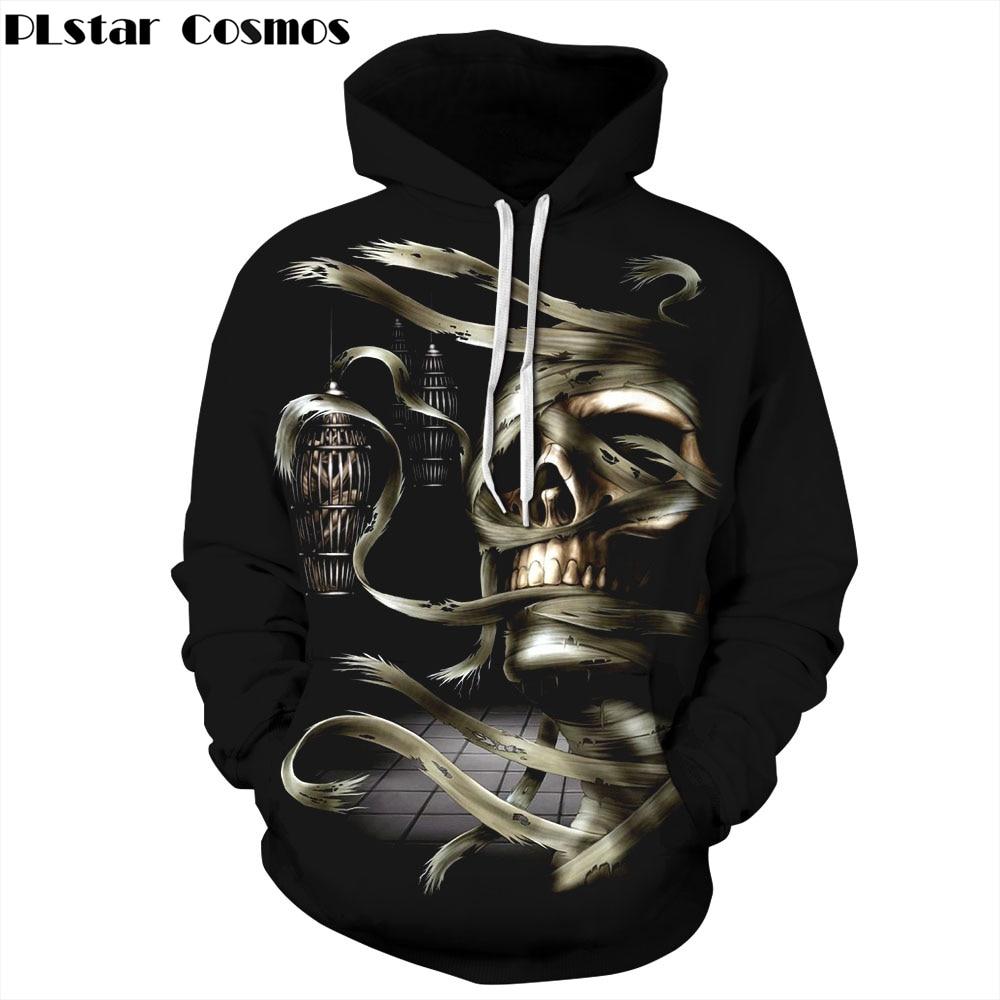 PLstar Cosmos Free shipping 2018 New Fashion Halloween 3d Hooded Sweatshirts Print Skull Thin Hoody Tracksuits Men/Women Hoodies