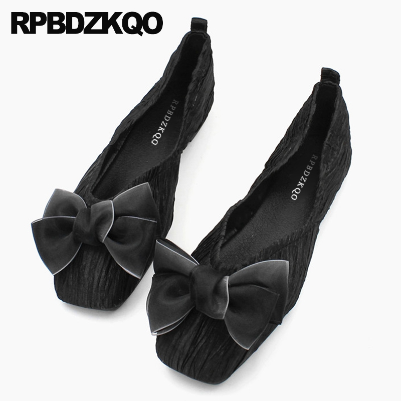 chinese square toe black ballerina cute slip on shoes big bow designer 2019 breathable china foldable ballet flats ladies women