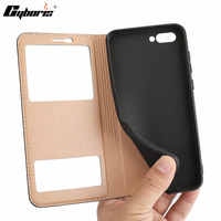 CYBORIS Cases For Huawei Honor V10 V 10 Double View Window Flip Cover Luxury Genuine Leather